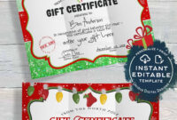Gift Certificate Template, Editable Gift Certificate From pertaining to Christmas Gift Certificate Template Free Download