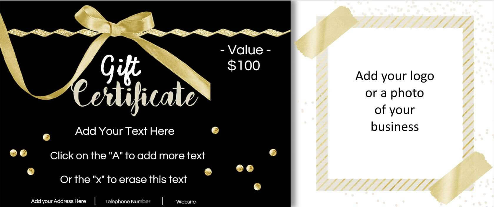 Gift Certificate Template With Logo For Free Photography Gift Certificate Template