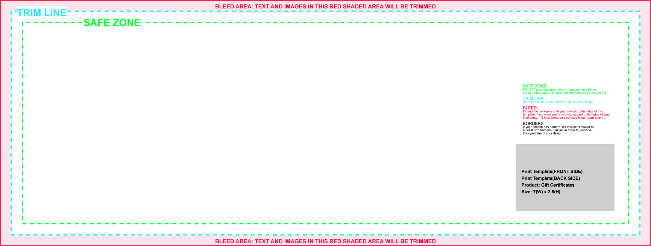 Gift Certificates inside Certificate Template Size