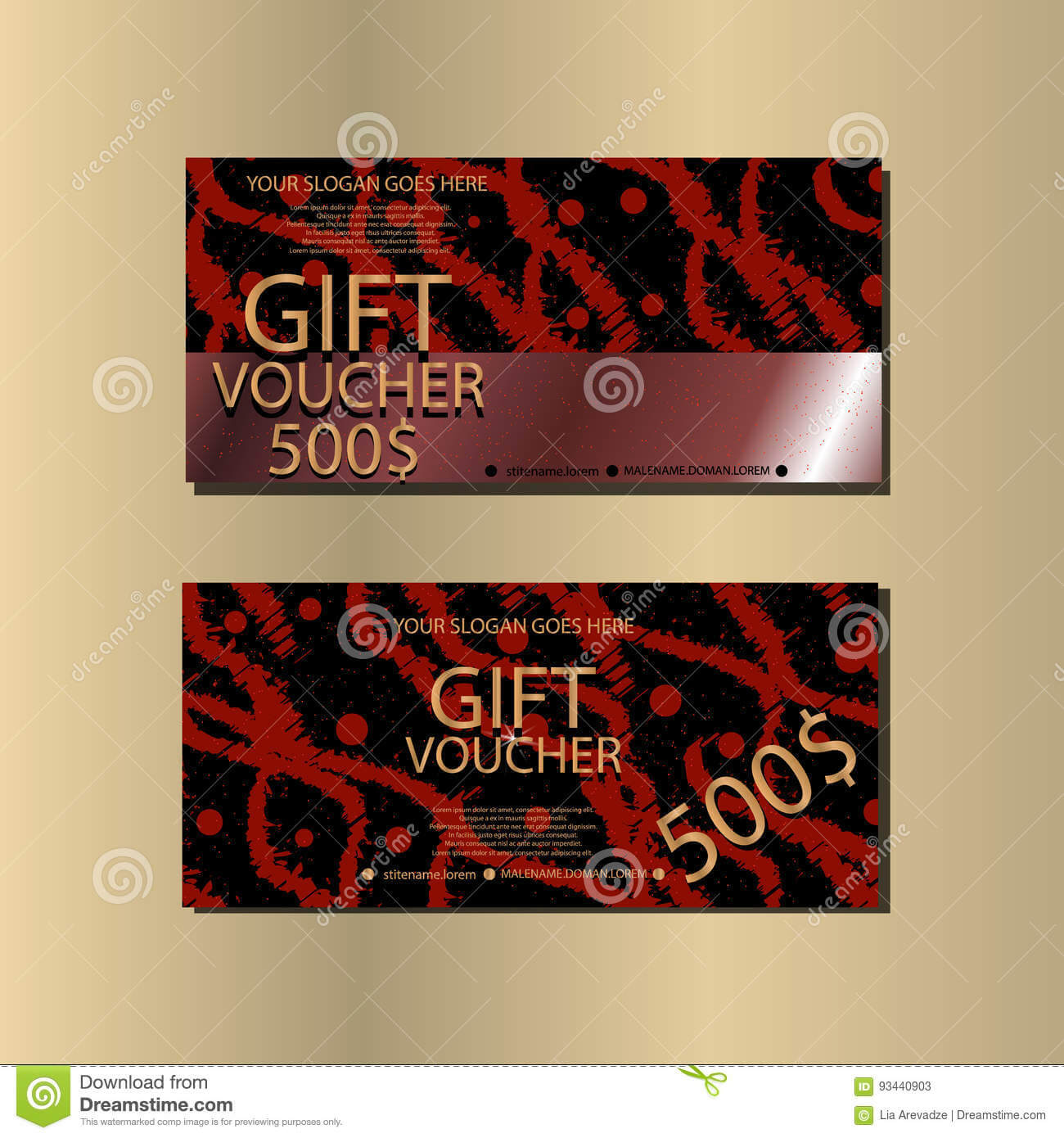 Gift Voucher Template With Abstract Texture For Your Designt with Gift Card Template Illustrator