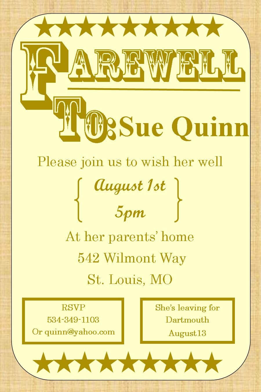 Going Away Party Invitations – Farewell Burlap   Farewell Throughout Farewell Card Template Word