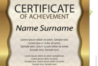 Gold Certificate Of Achievement Or Diploma. Template with regard to Certificate Of Attainment Template