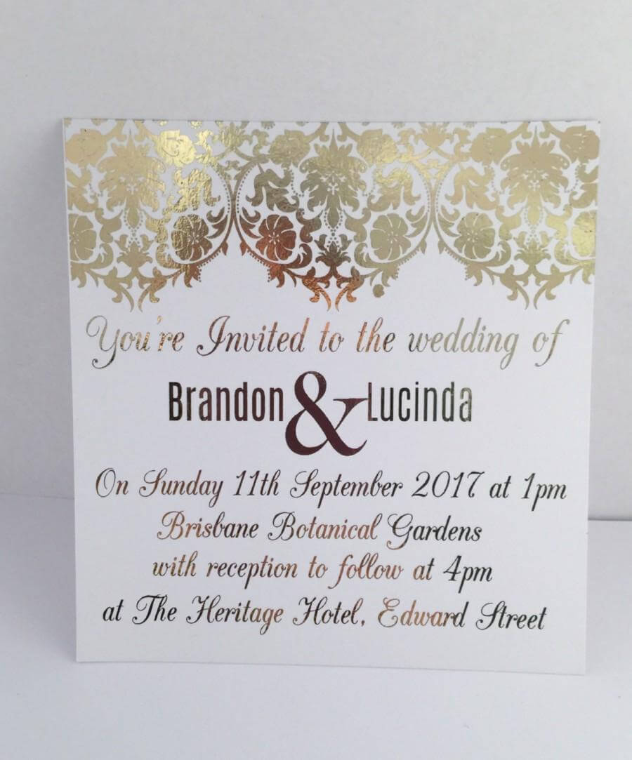 Gold Foil Wedding Invitation Set With Rsvp Card - Sample throughout Engagement Invitation Card Template