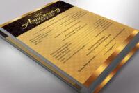Golden Church Anniversary Program One Sheet Word Template regarding Church Program Templates Word