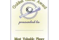 Golden Glove Award Certificate throughout Softball Certificate Templates