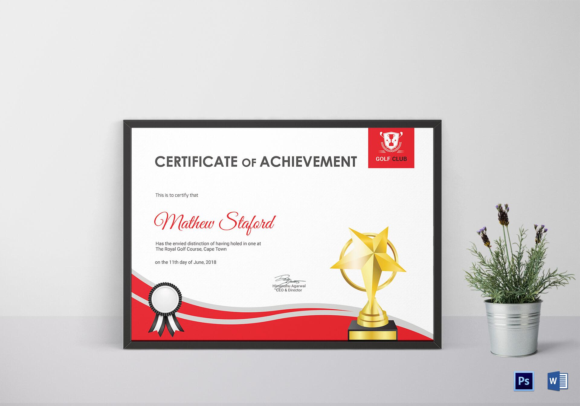 Golf Achievement Certificate Template for Golf Certificate Templates For Word
