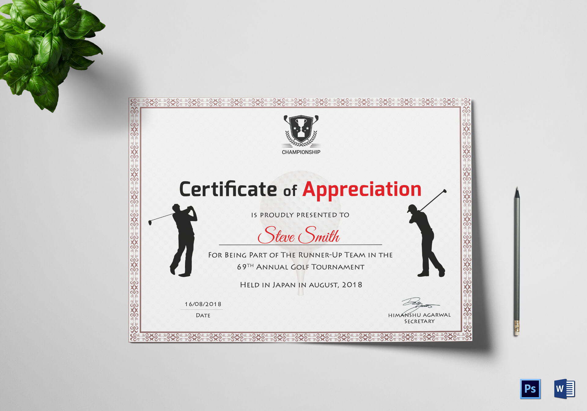 Golf Appreciation Certificate Template Inside Golf Certificate Templates For Word