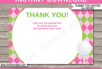 Golf Birthday Party Thank You Cards Template – Pink/green within Thank You Note Cards Template