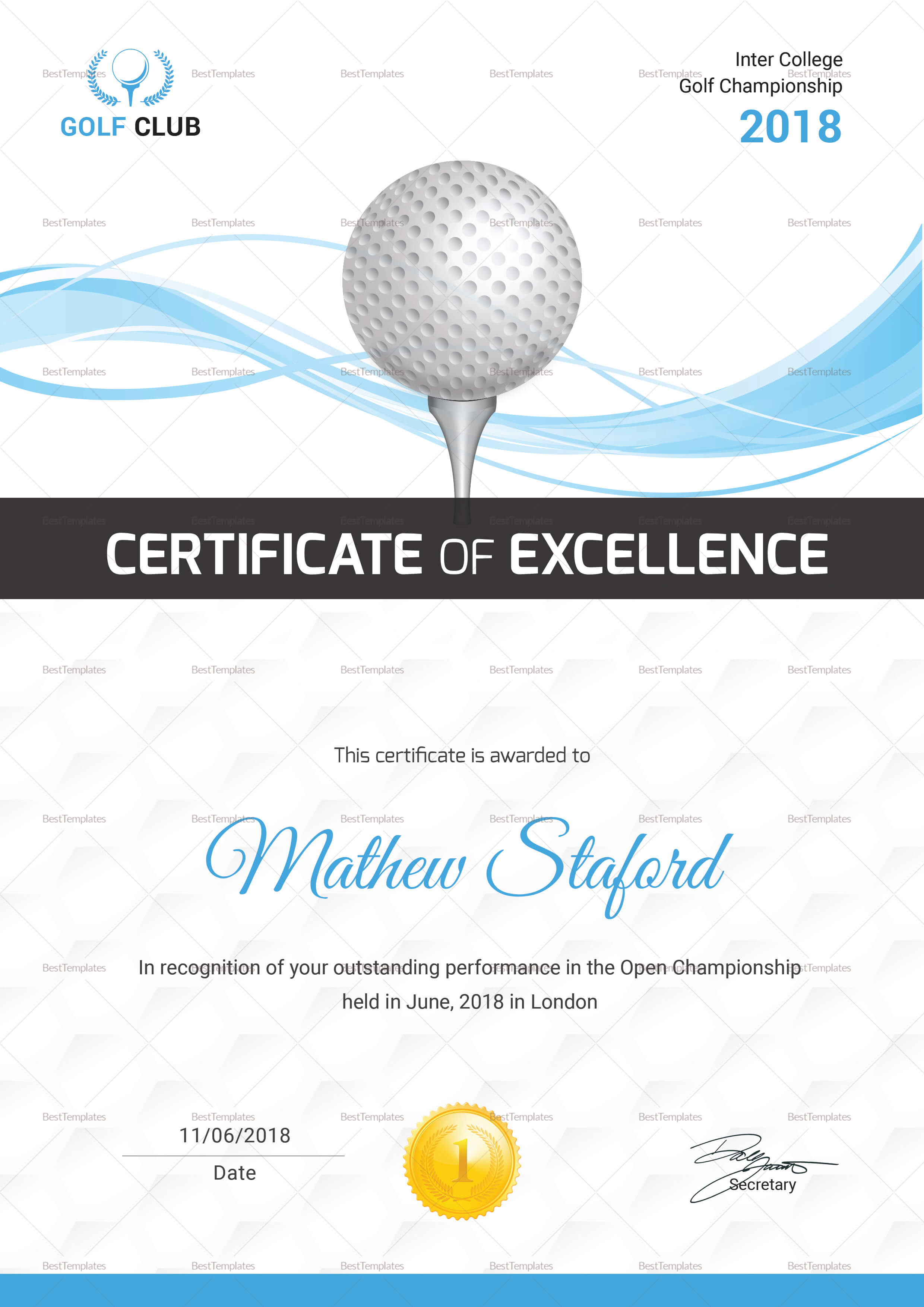 Golf Certificate Template with Golf Certificate Templates For Word