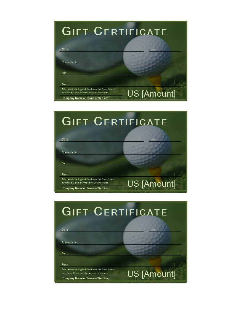 Golf Gift Certificate - Download This Free Printable Golf In Golf Gift Certificate Template