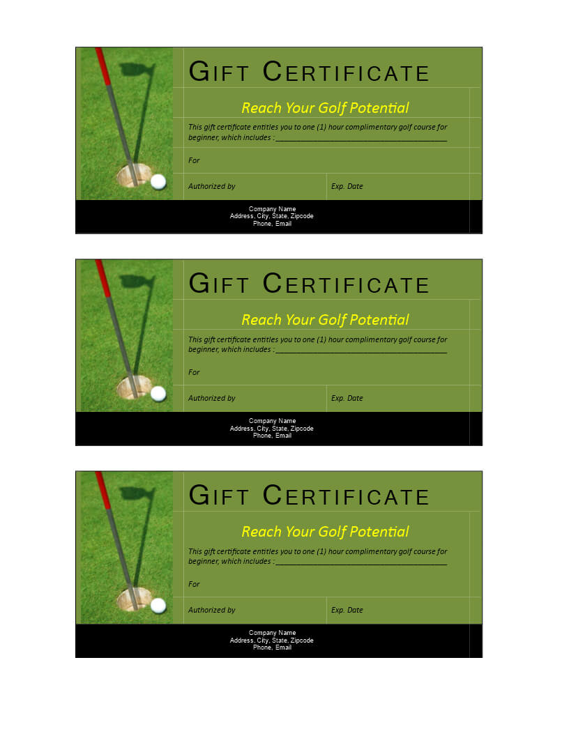 Golf Gift Non Cash Value Voucher   Templates At inside Golf Certificate Templates For Word