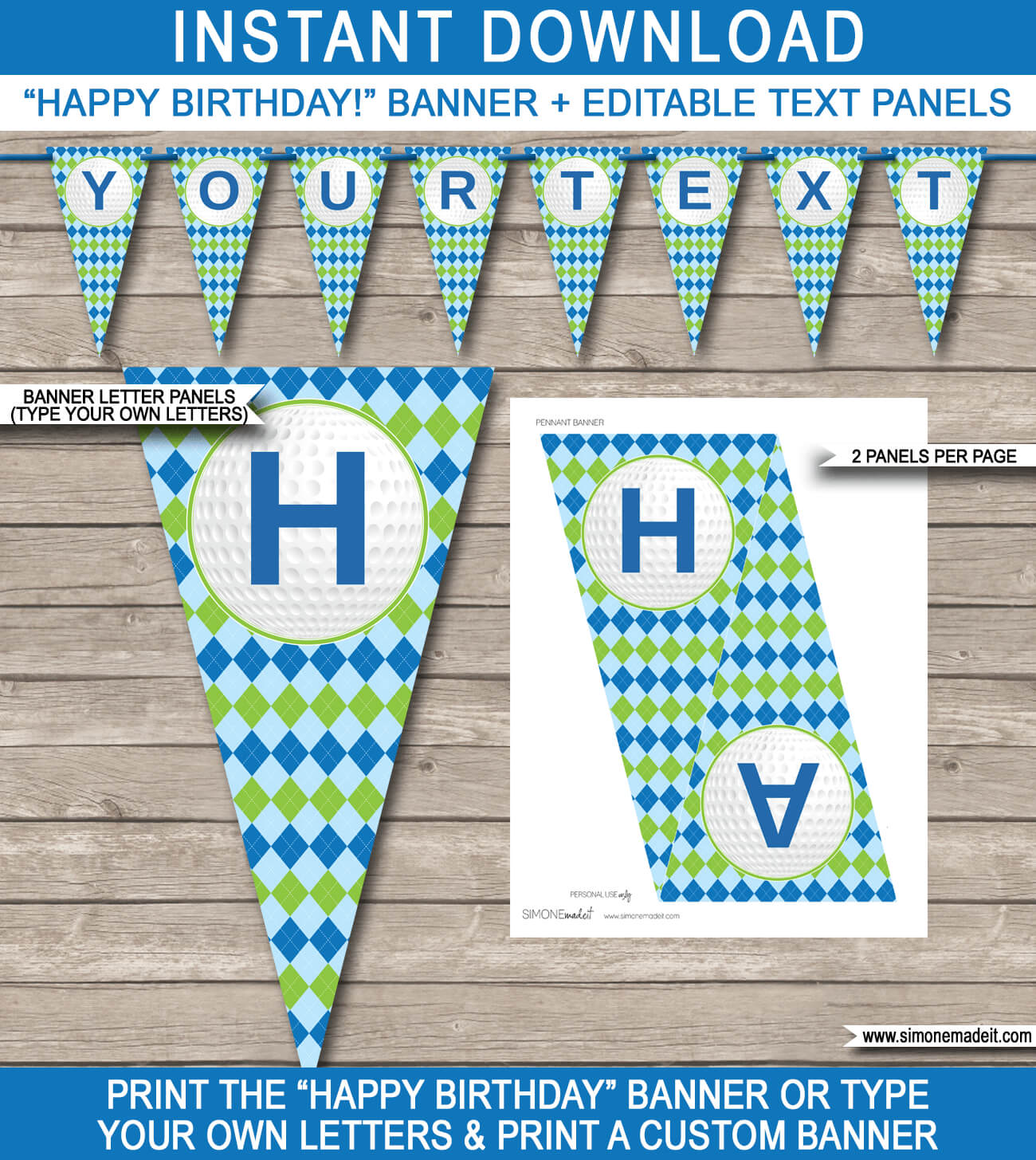 Golf Party Banner Template – Blue & Green in Free Printable Party Banner Templates