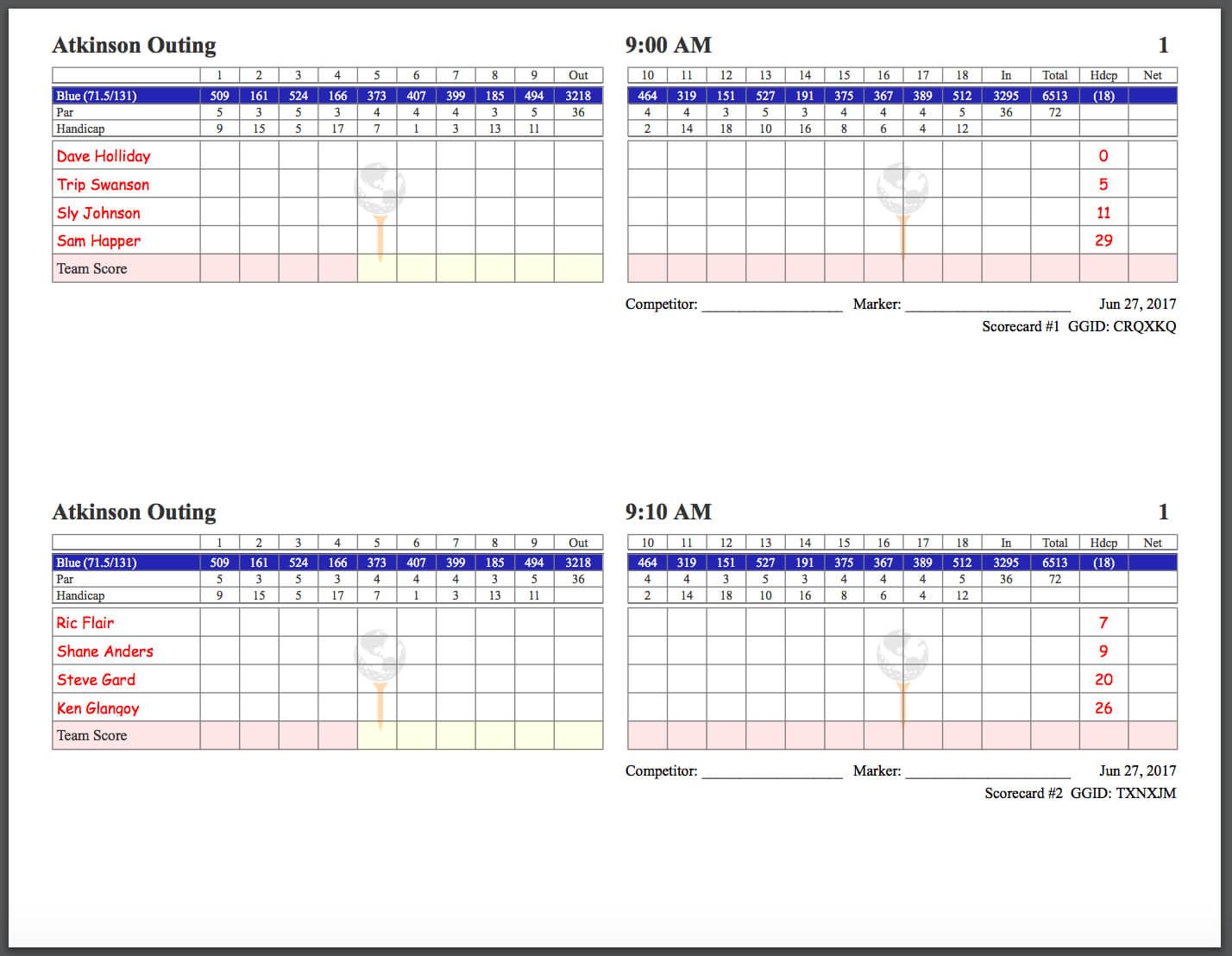 Golfgenius - Printing Scorecards (Format Tab) throughout Golf Score Cards Template