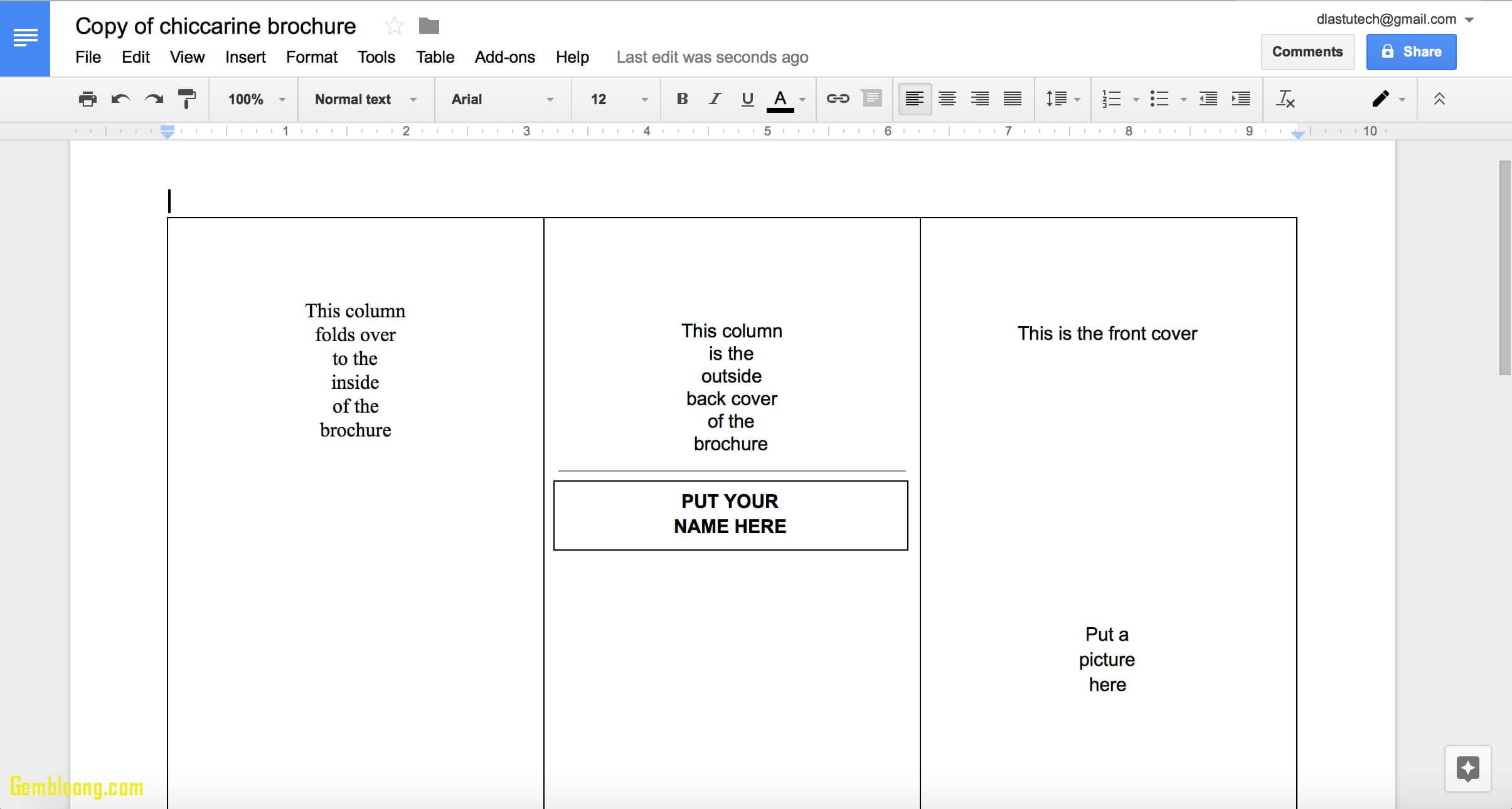 Google Drive Brochure Template - Cokhithuanpham Pertaining To Google Drive Brochure Templates