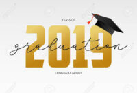 Graduating Card Template. Class Of 2019 – Banner With Gold Numbers.. for Graduation Banner Template