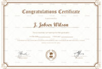 Graduation Completion Congratulations Certificate Template within College Graduation Certificate Template
