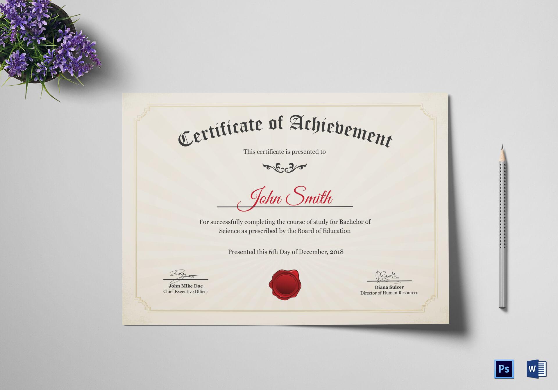 Graduation Degree Certificate Template intended for Graduation Certificate Template Word