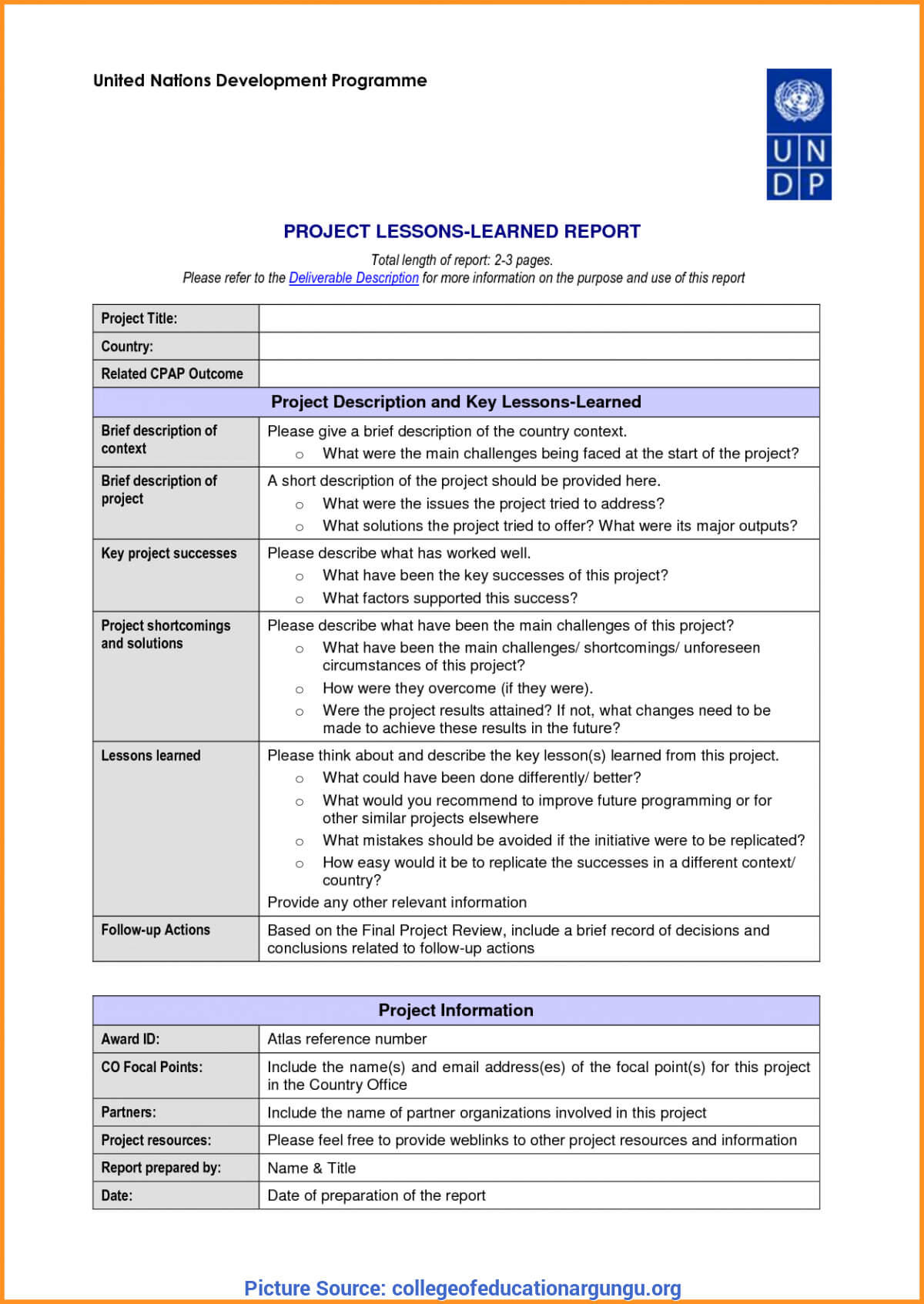 Great Hse Lessons Learned Template 23 Lessons Learnt Report Inside Lessons Learnt Report Template
