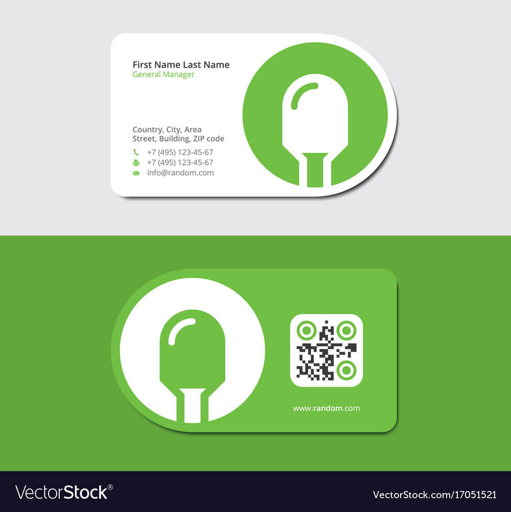 Green Business Card With Electric Lamp And Qr Code Within Qr Code Business Card Template