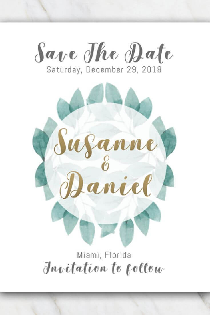 Green Leaves Wedding Save The Date Template | Free Within Save The Date Templates Word