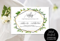 Green Wedding Rsvp Cards, Wedding Reply Attendance Acceptance Cards, Rsvp  Template Printable Editable Wedding Download Simple Rsvp Insert in Acceptance Card Template