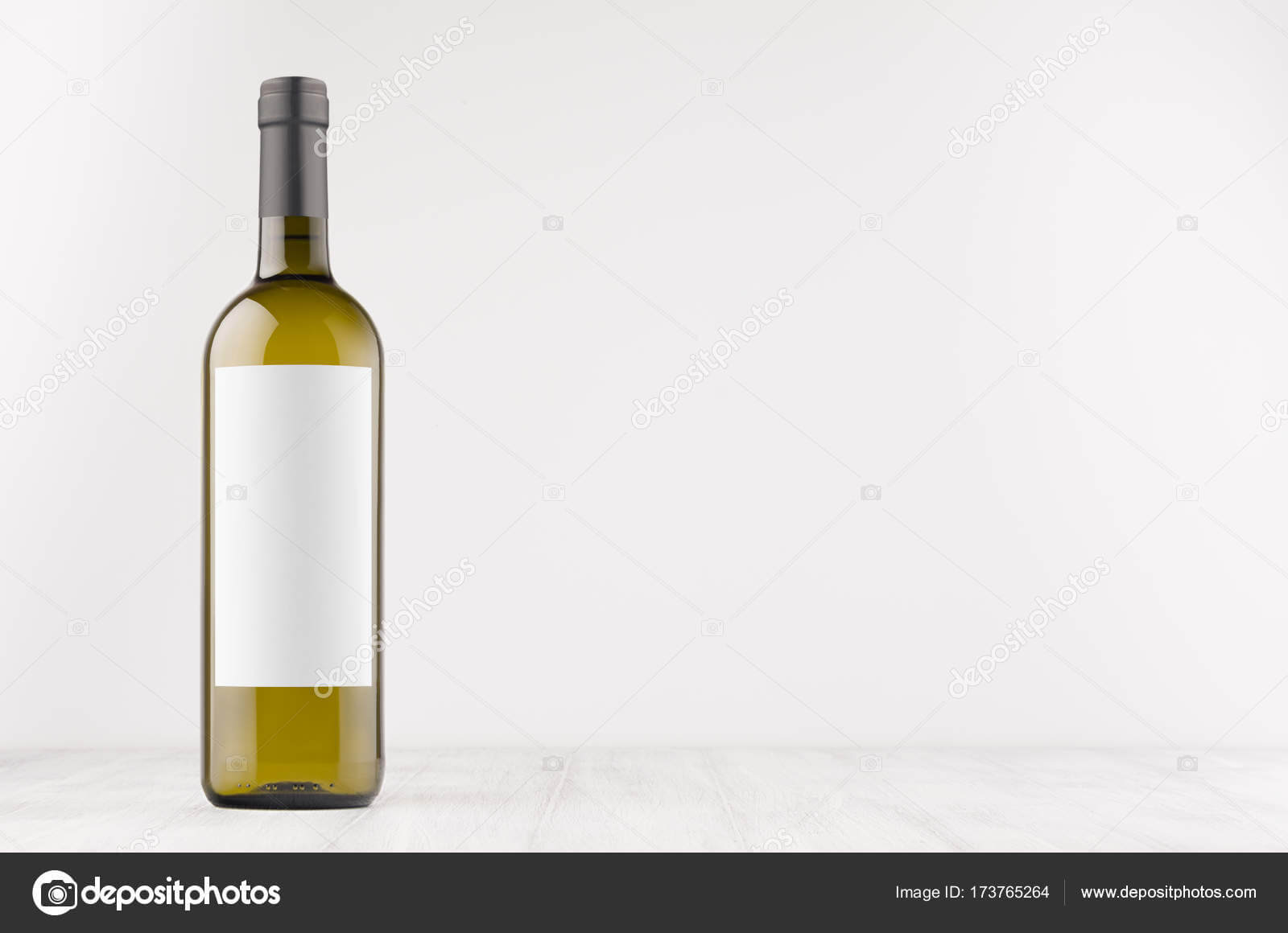 Green Wine Bottle With Blank White Label On White Wooden with regard to Blank Wine Label Template
