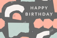 Greeting Card Template With Torn Paper Pieces In Pastel with Birthday Card Collage Template