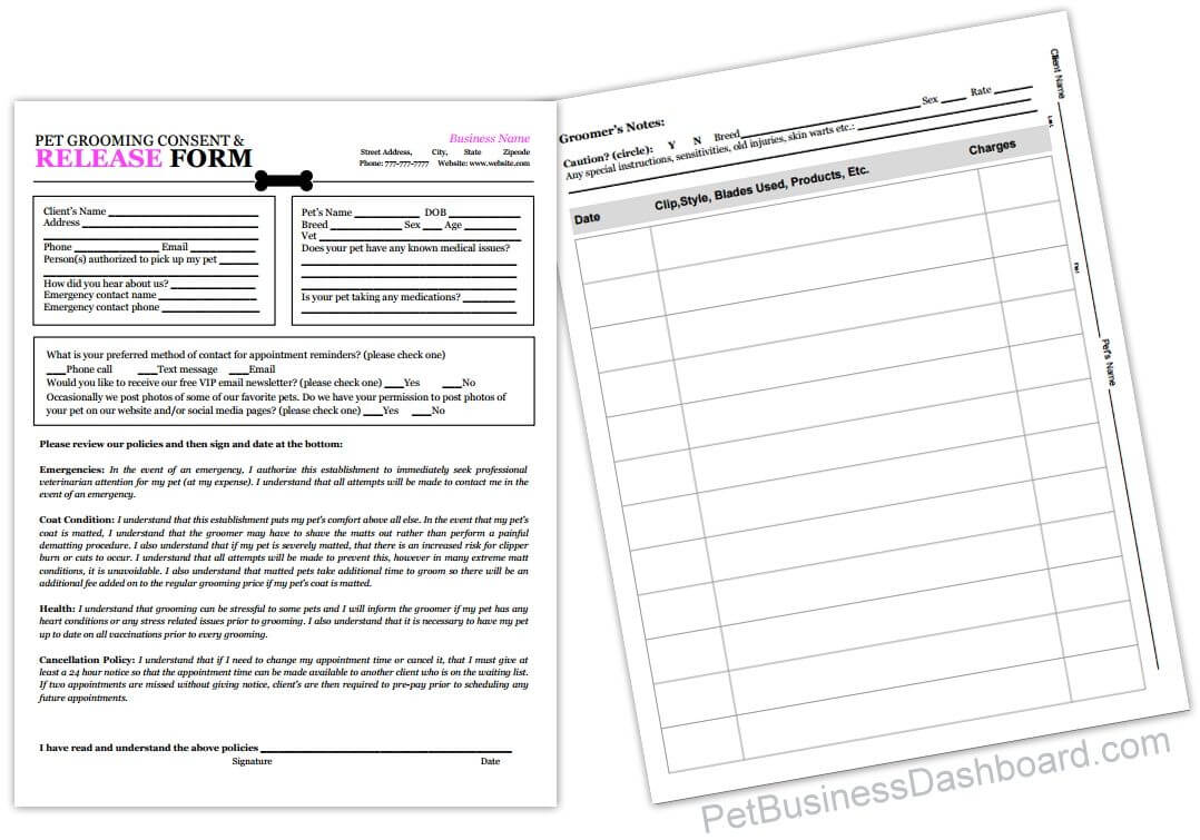 Grooming Release Form Template & Printable Pdf | Dog With Regard To Dog Grooming Record Card Template