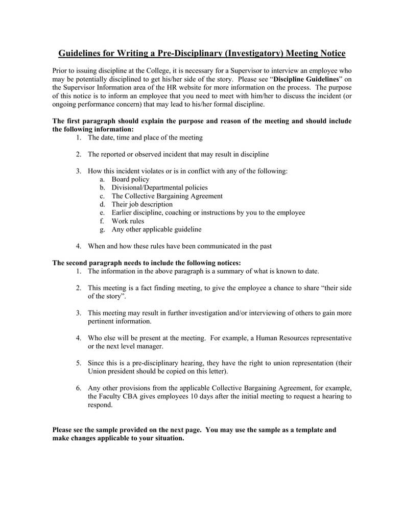 Guidelines For Writing A Pre Disciplinary (Investigatory In Investigation Report Template Disciplinary Hearing