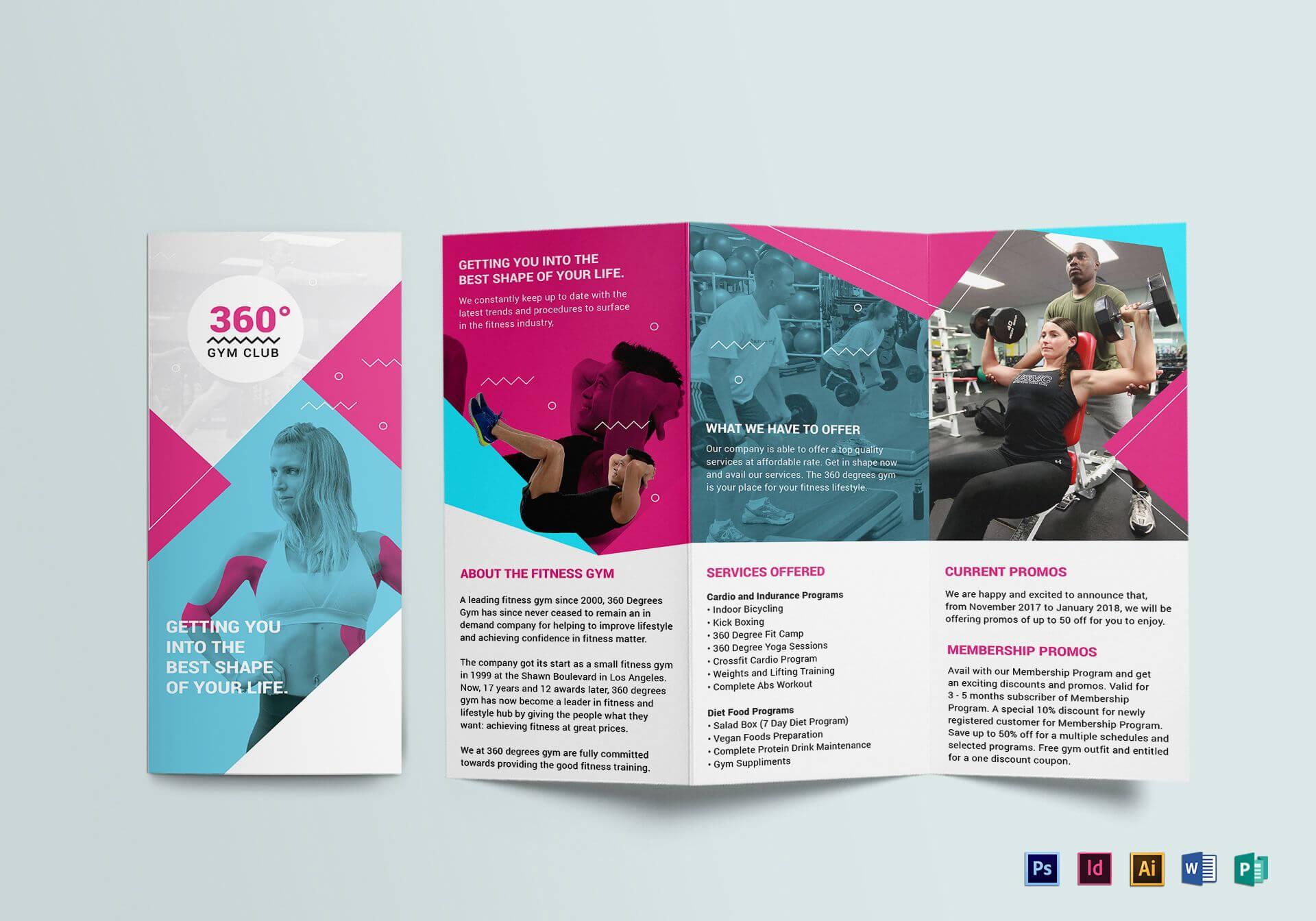 Gym Tri Fold Brochure Template In Membership Brochure With Membership Brochure Template