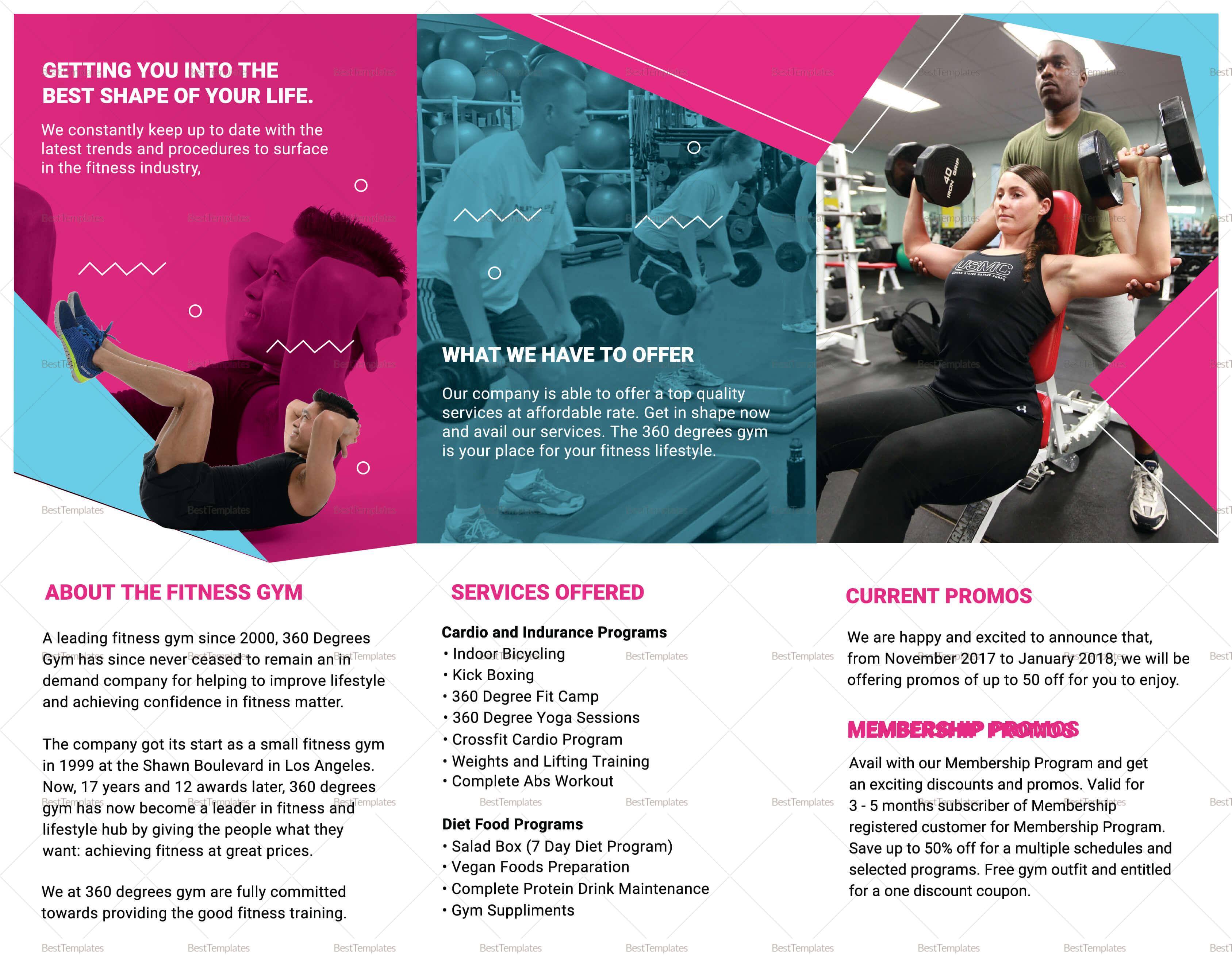 Gym Tri-Fold Brochure Template with Membership Brochure Template