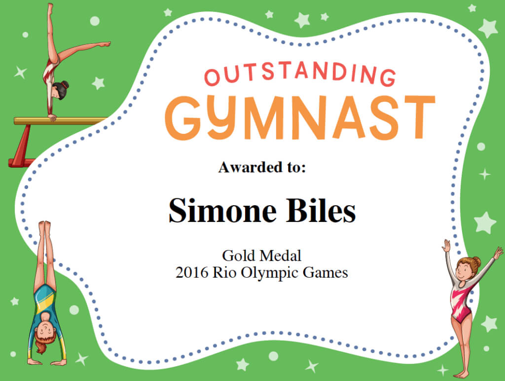 Gymnastics Quotes | Simone Biles, Gabby Douglas & Aly With Regard To Gymnastics Certificate Template