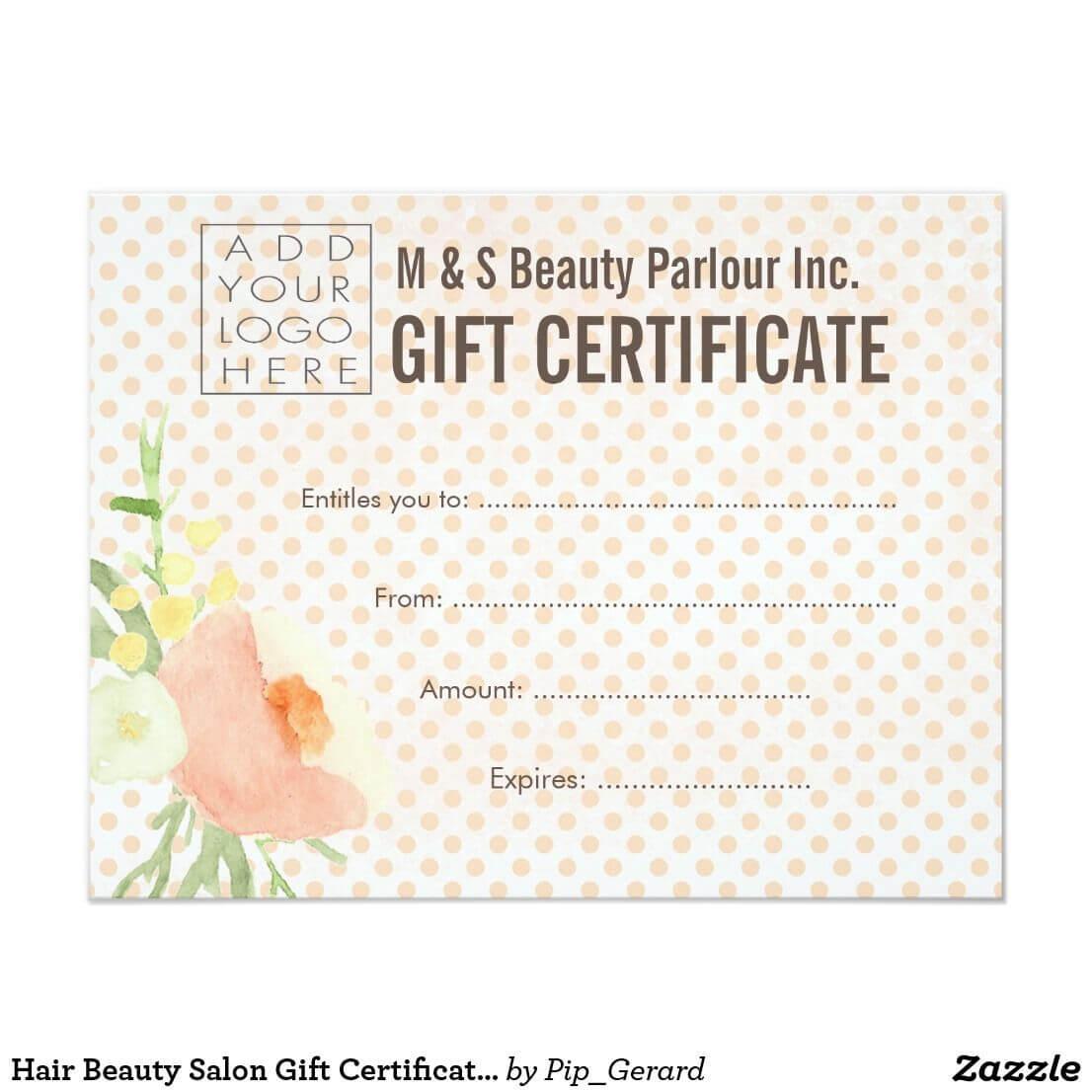 Hair Beauty Salon Gift Certificate Template   Zazzle Regarding Salon Gift Certificate Template