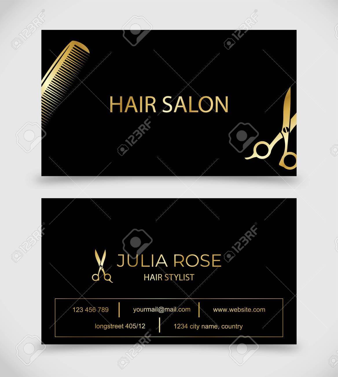 Hair Salon, Hair Stylist Business Card Vector Template with Hair Salon Business Card Template