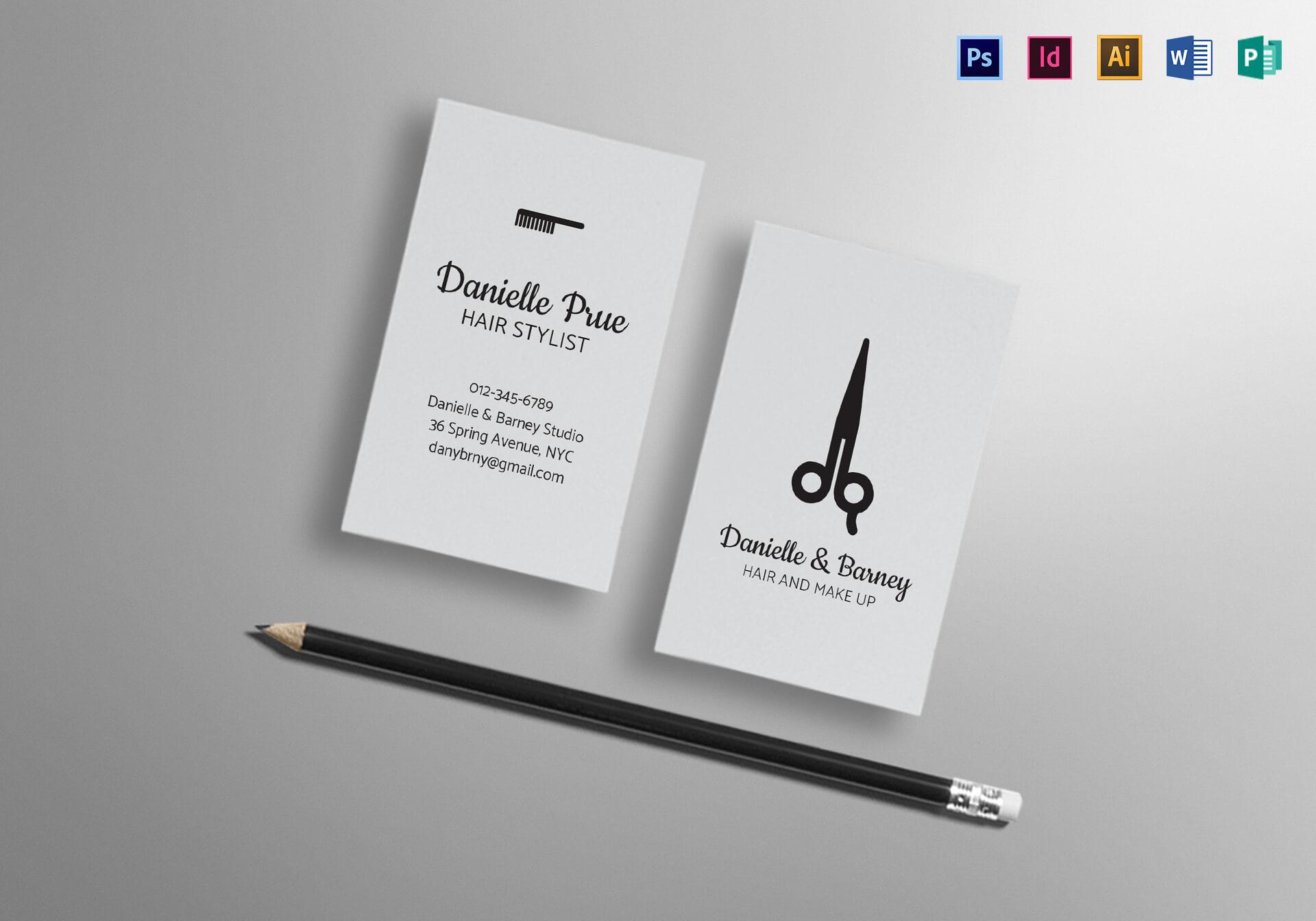 Hair Stylist Business Card Template regarding Hair Salon Business Card Template