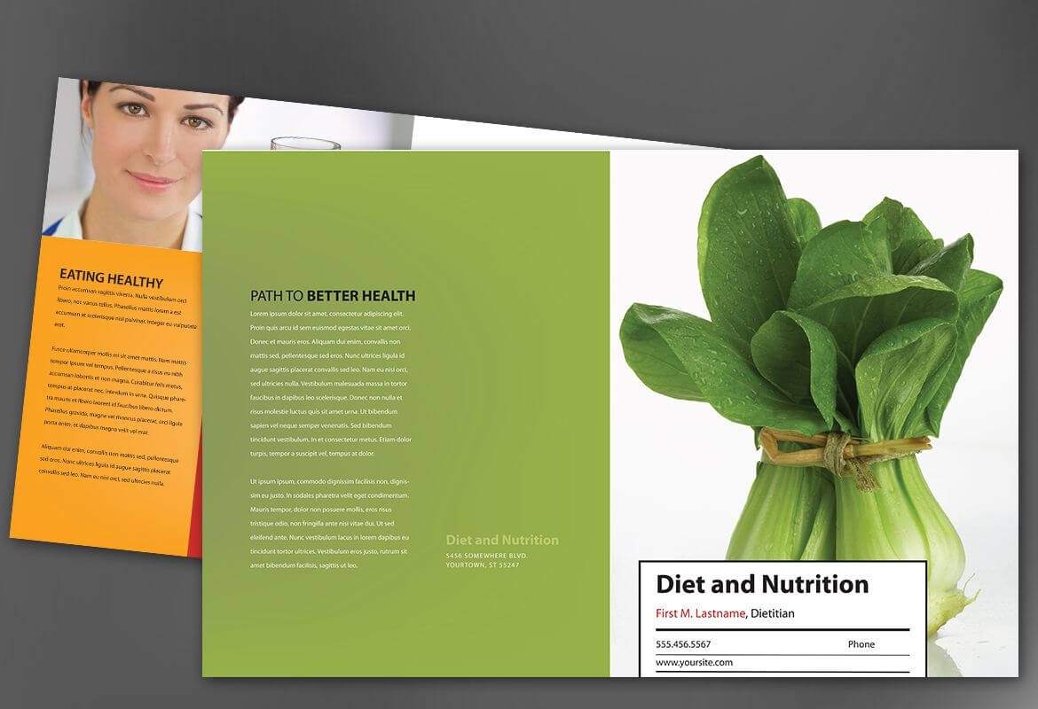 Half Fold Brochure Template For Health And Nutrition. Order pertaining to Nutrition Brochure Template