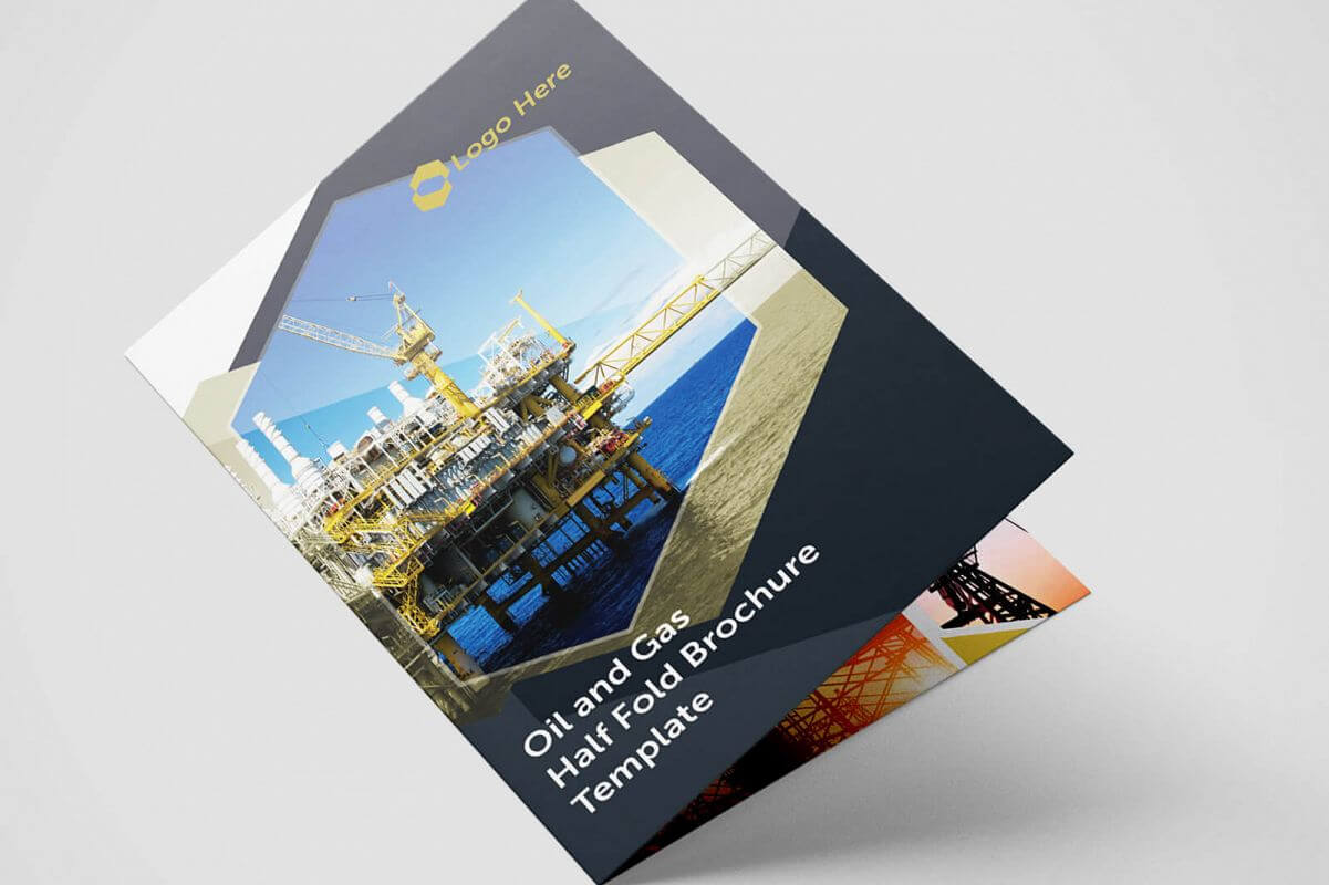 Half Fold Oil And Gas Brochure Template In Half Page Brochure Template