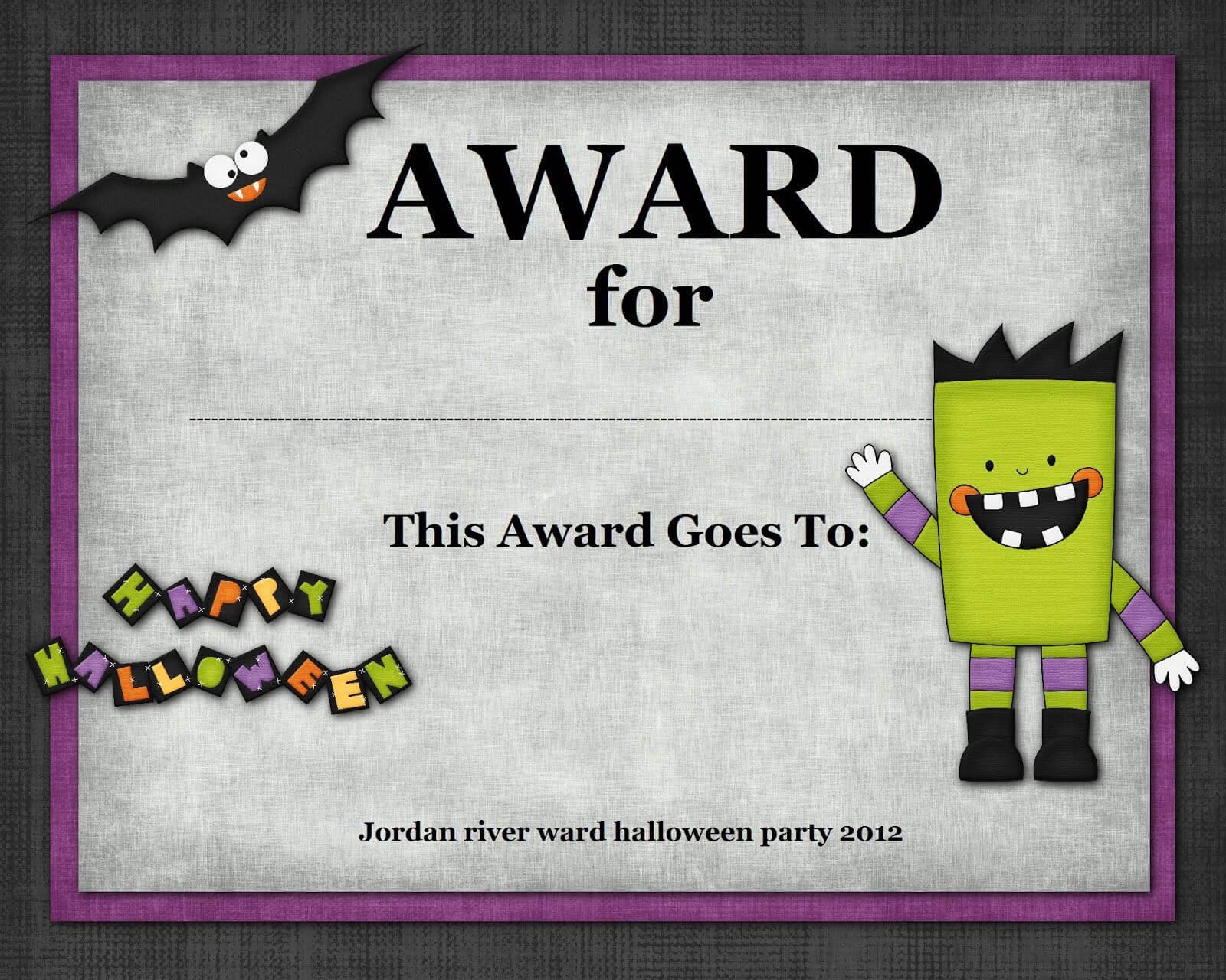 Halloween Costume Award In 2019 | Halloween Costume Awards Intended For Halloween Costume Certificate Template