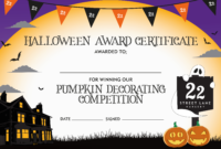 Halloween Pumpkin Decorating Competition Certificate for Halloween Certificate Template