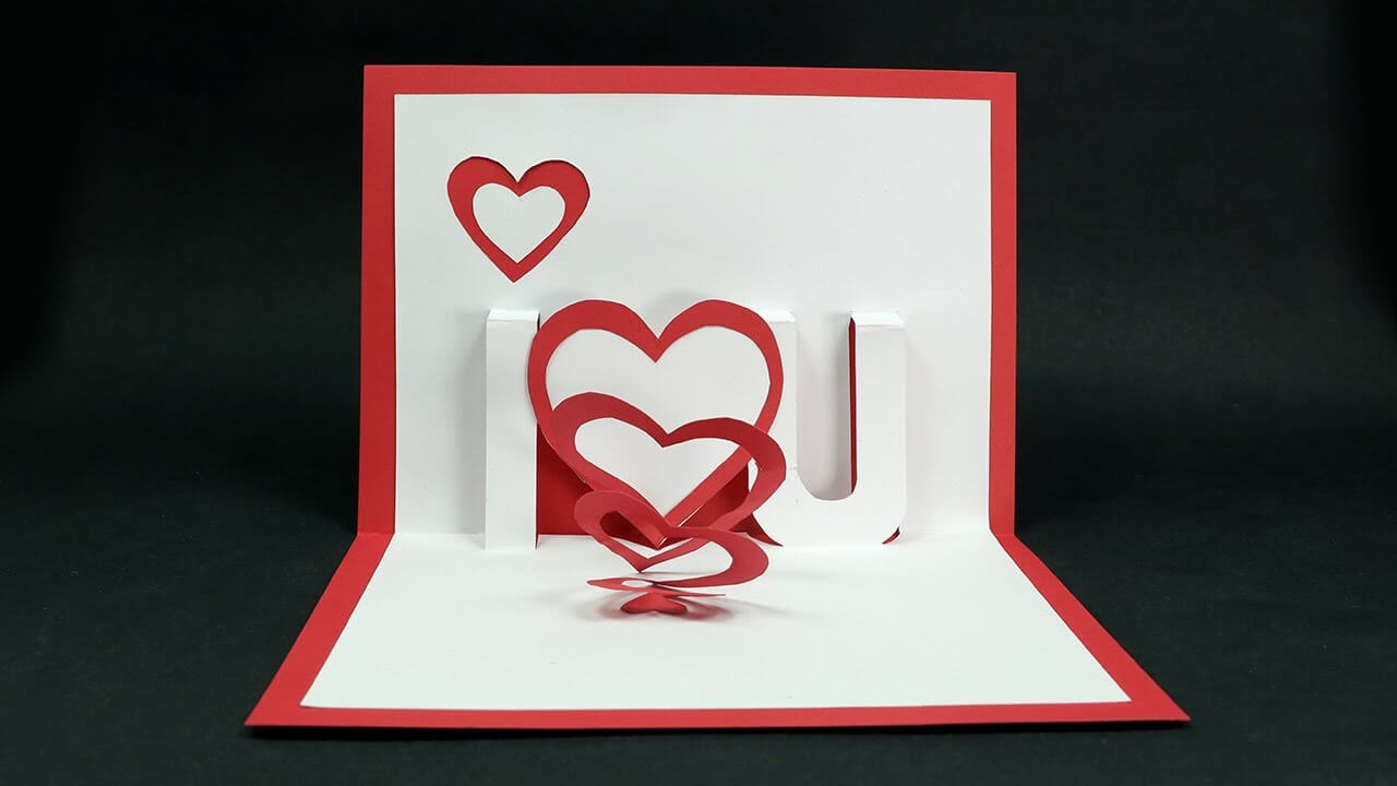 Handmade Valentine's Day Card - Diy 'i Love You' Pop Up Heart Love Card  Tutorial in I Love You Pop Up Card Template