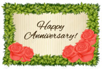 Happy Anniversary Card Template With Red Roses Illustration pertaining to Template For Anniversary Card
