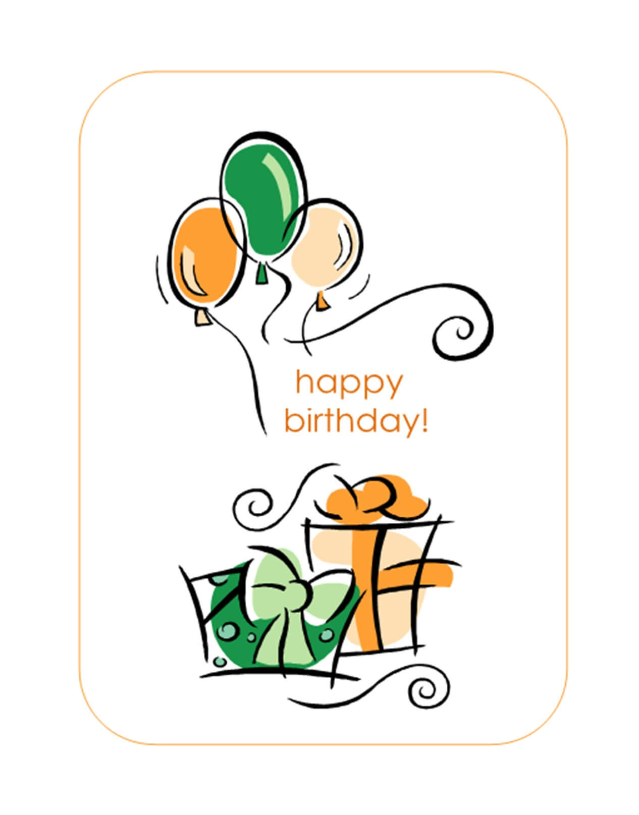Happy Birthday Card (With Balloons, Quarter Fold) Throughout Quarter Fold Birthday Card Template
