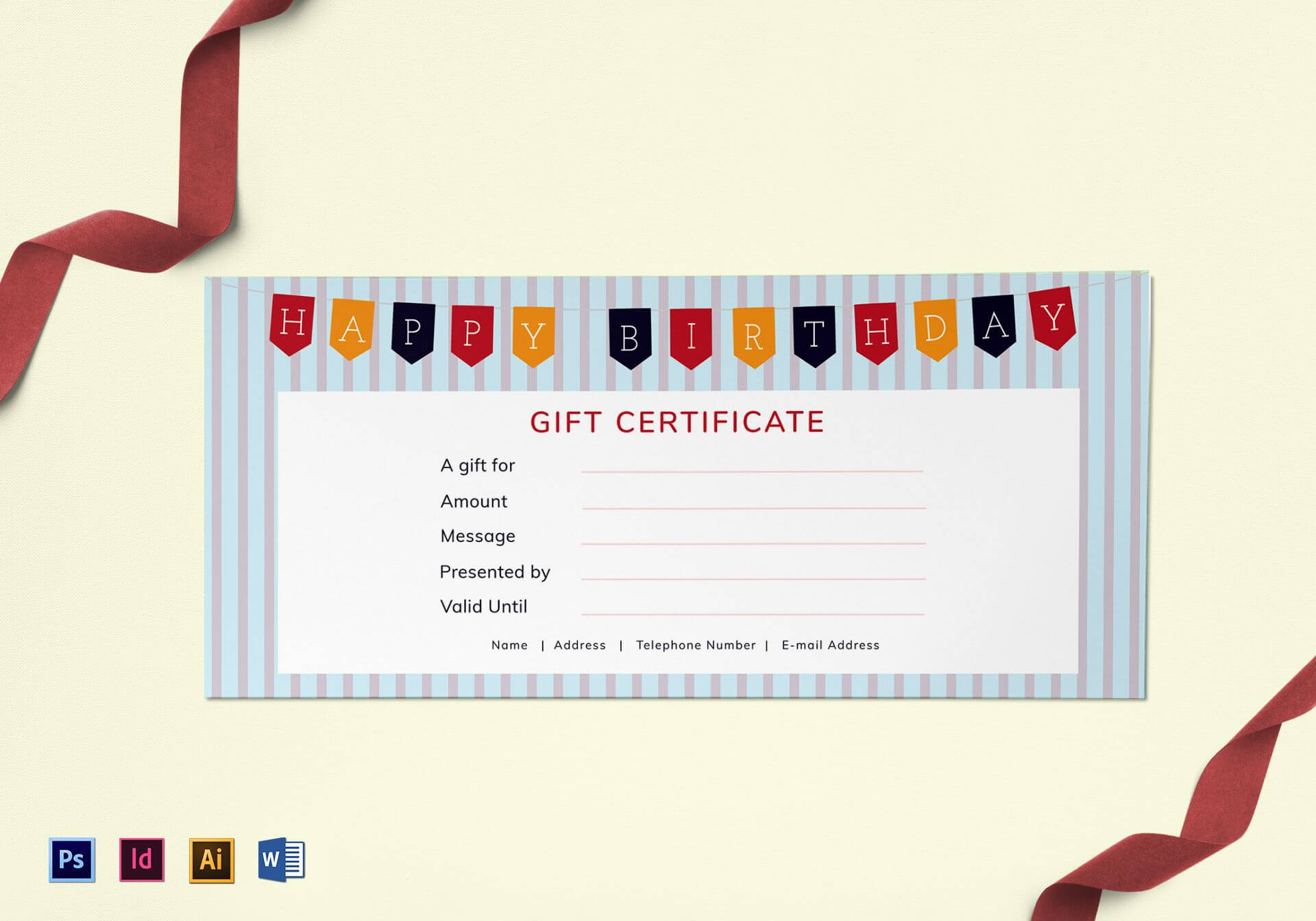 Happy Birthday Gift Certificate Template within Indesign Gift Certificate Template
