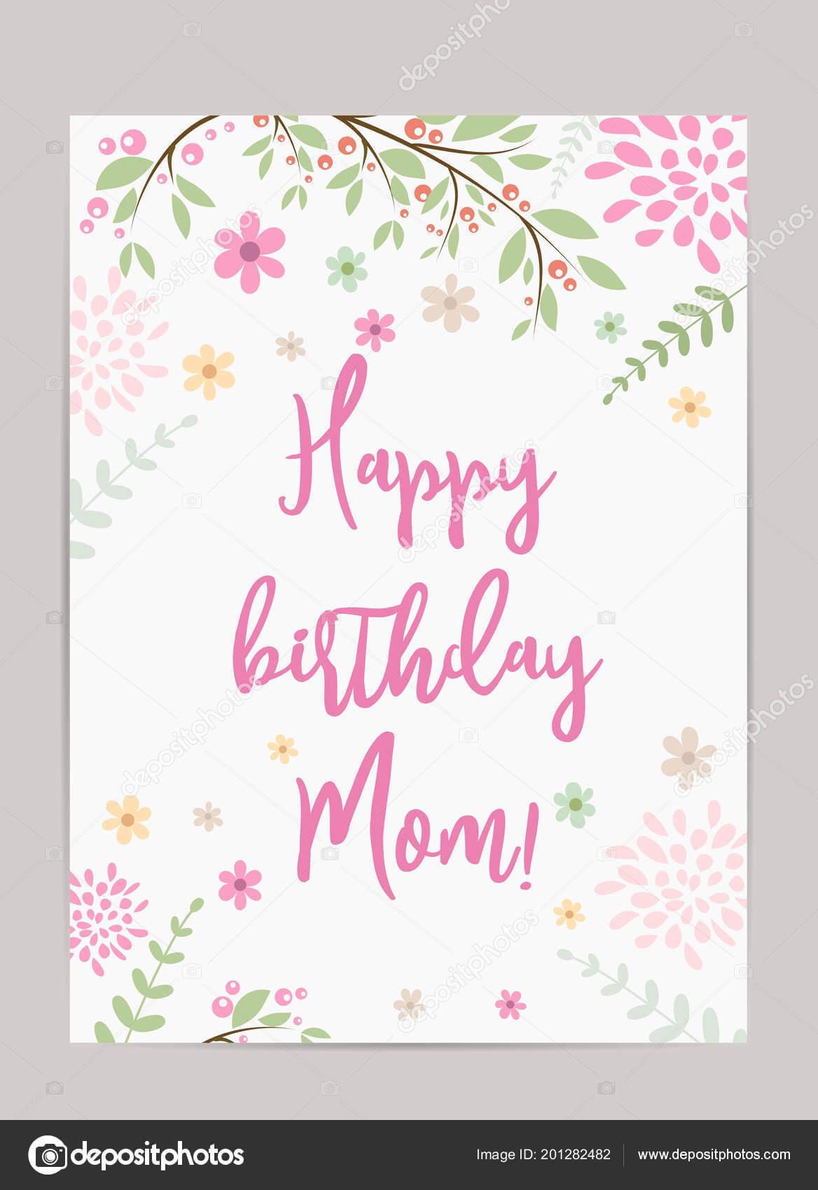 Happy Birthday Mom Template   Happy Birthday Mom Holiday in Mom Birthday Card Template