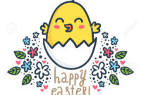 Happy Chick – Vector Easter Greeting Card Design Template With.. for Easter Chick Card Template