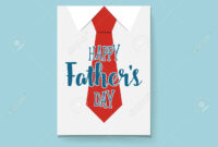 Happy Fathers Day Card Design With Big Tie. Vector Illustration. intended for Fathers Day Card Template