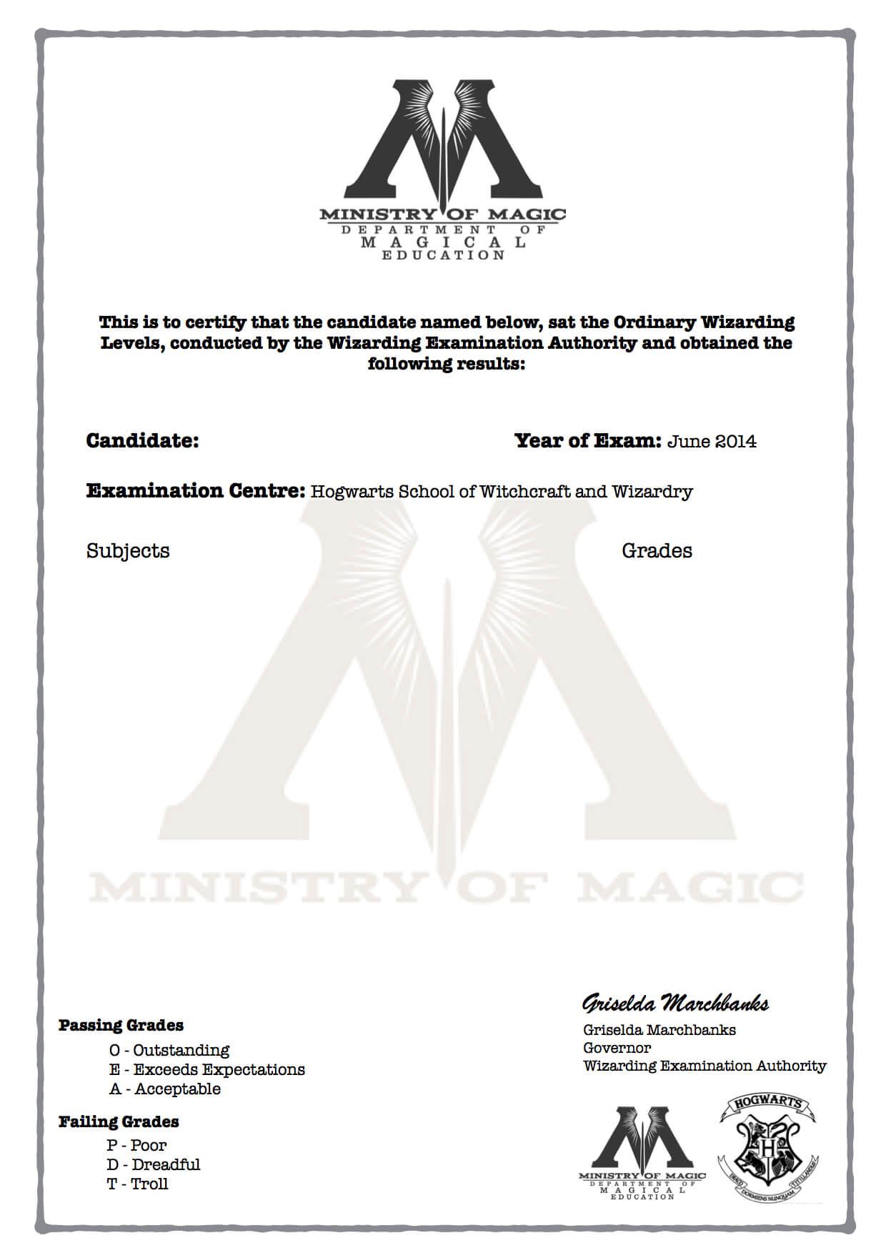 Harry Potter O.w.l's Certificate Blank Template! | Harry Pertaining To Harry Potter Certificate Template