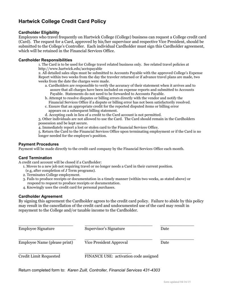 Hartwick College Credit Card Policy pertaining to Company Credit Card Policy Template