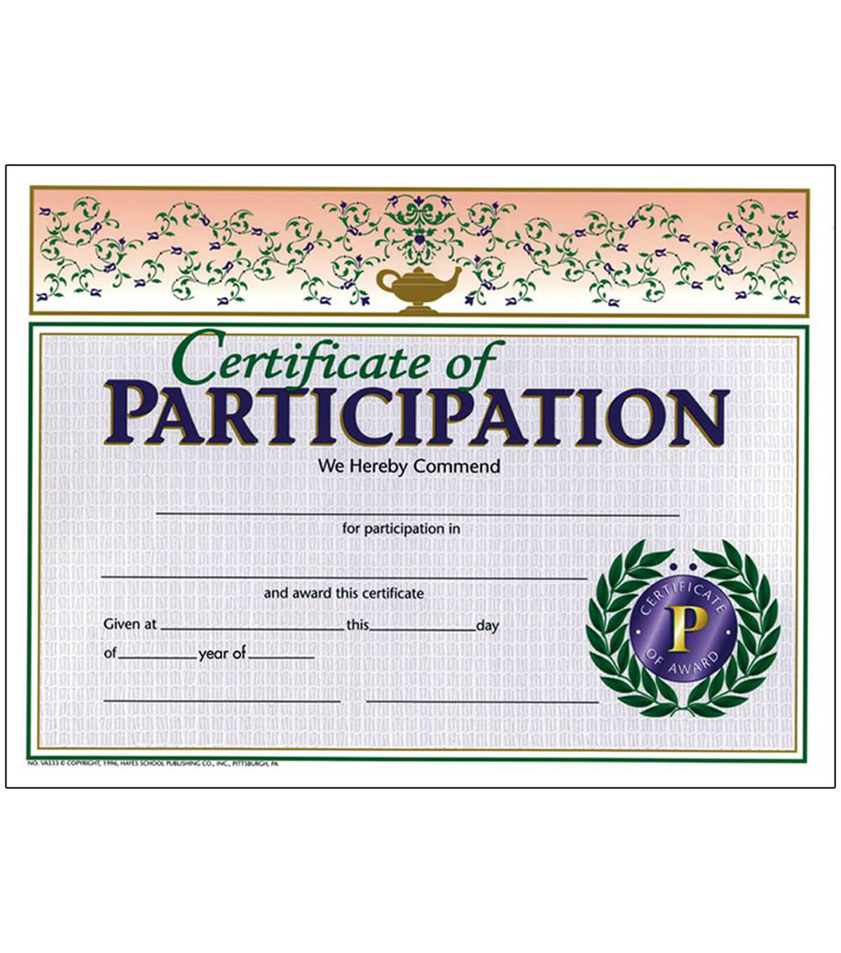 Hayes Certificate Of Participation, 30 Per Pack, 6 Packs intended for Hayes Certificate Templates