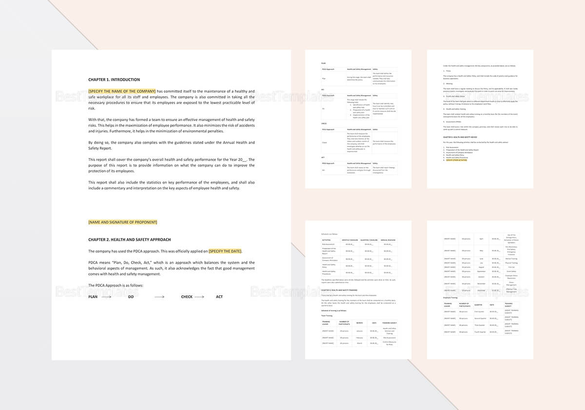 Health And Safety Annual Report Template For Annual Health And Safety Report Template